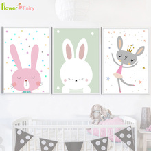 Rabbit Wall Art Canvas Painting Baby Room Cartoon Posters Prints Nursery Nordic Poster Wall Pictures For Living Room Unframed цена