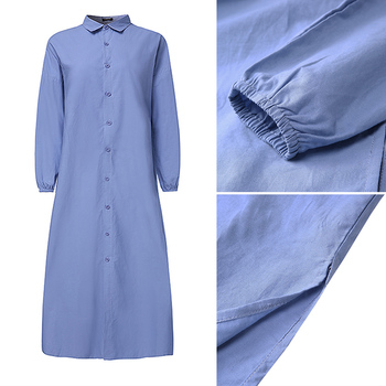 Plus Size Shirt Dress Women's Autumn Sundress 2019 VONDA Vintage Casual Long Maxi Dress Tunic Vestidos V Neck Solid Robe Femme 5