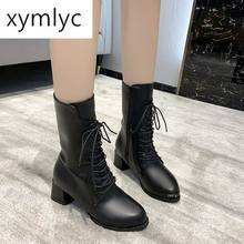 Женские ботинки новая обувь одноботинки на толстом каблуке мартинсы
