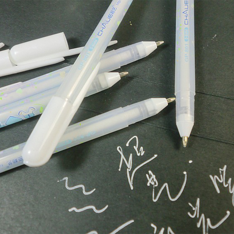 2pcs/lot White Gel Pen For Black Card Paper , White Highlighter Photo Album Pen For Black Paper