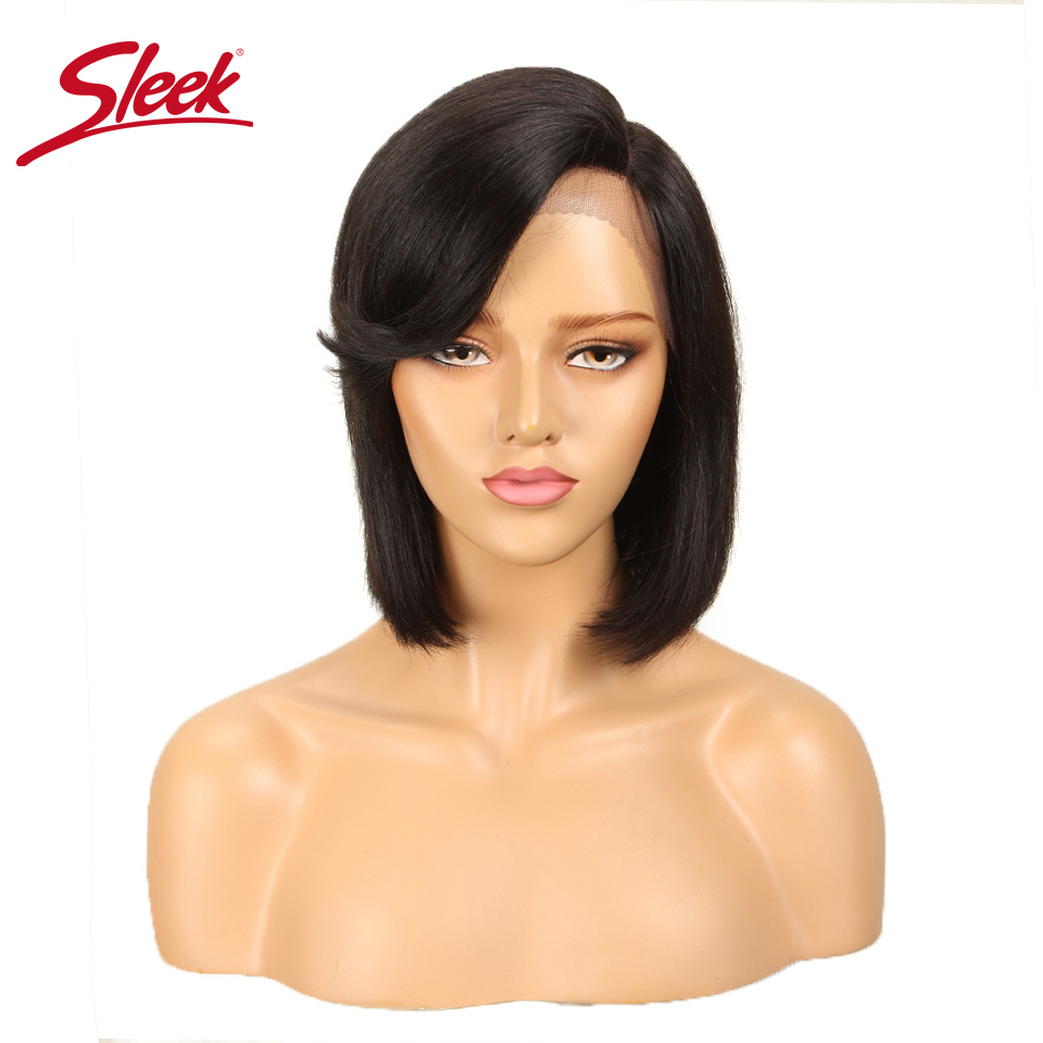Sleek Bob Lace Front Wigs Brazilian Lace Front Human Hair Wigs For Women Straight Human Wigs With Bangs Ombre Short Bob Wig