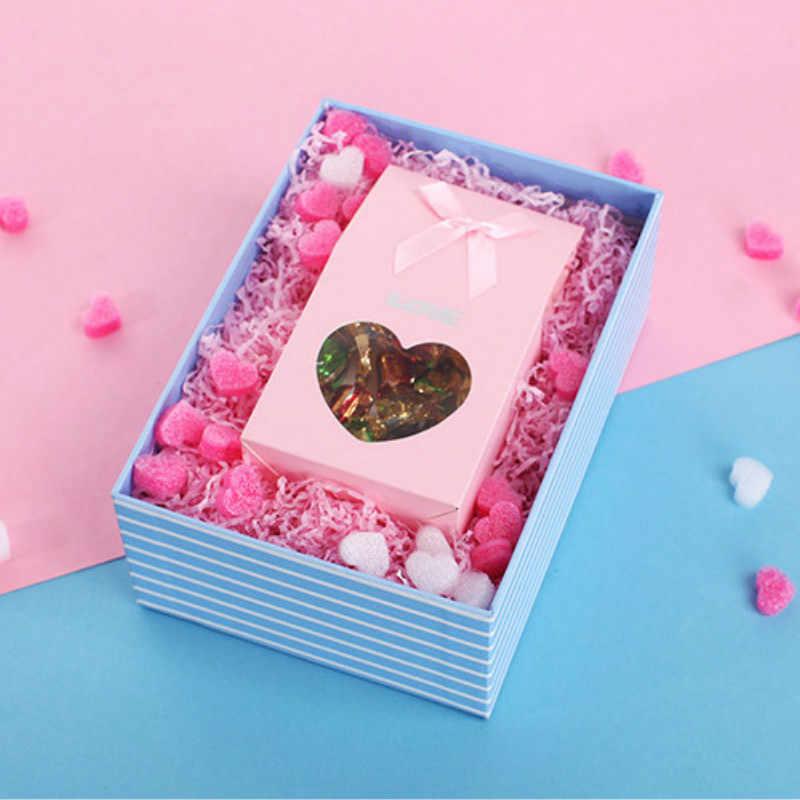 Rosa Mini Herz Hochzeit Geschenk Box Füllstoff Glücklich Geburtstag Favor Boxen Füllung Material Kawaii DIY Geschenk Verpackung Zubehör
