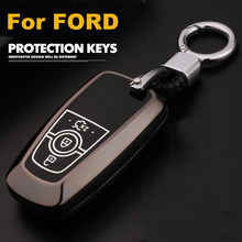 Zinc alloy+Luminous Car Remote Key Case Cover For Ford Mustang Mondeo Fusion 2017 2018 2019 MKC MKX MKZ Lincoln Edga Expedition(China)