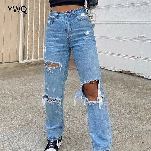 Baggy Jeans Straight Leg Ripped Jeans For Women Fashion Loose High Streetwear Women High Waist Pants Hole Boyfriend Trousers 3