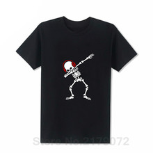 лучшая цена Skelton Dab T shirt men Dabben Headphones Music t-shirt Rock N Roll shirt Camiseta Short Sleeve Heavy rock death metal Retro tee