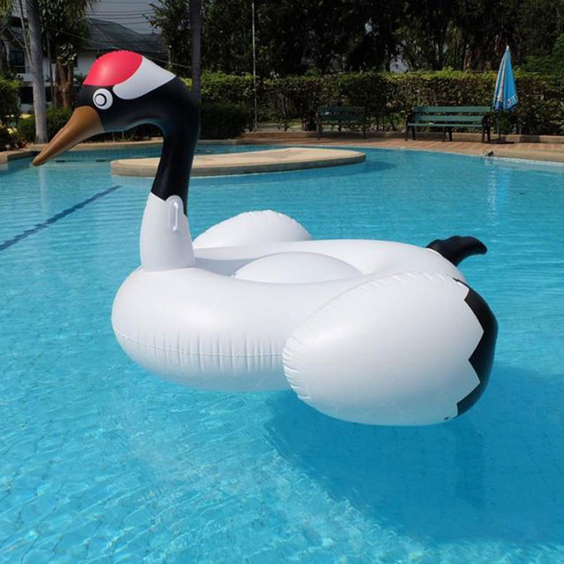 190cm Inflatable Crowned Crane Pool Float Giant White Swan Mattress Swimming Circle Party Water Floating Island Buoy Beach Bed
