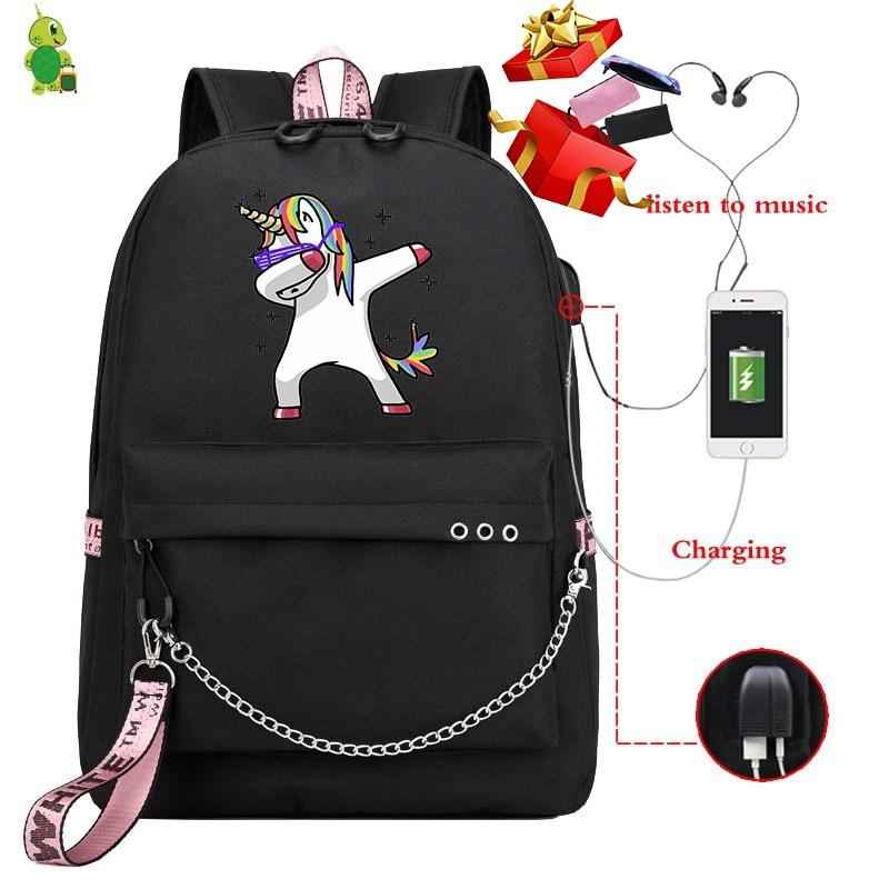 Mochila Unicorn Backpack Women's Backpack Funny School Bags For Teenage Girls Usb Charge Laptop Backpack Korean Travel Backpack