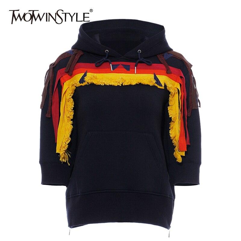 TWOTWINSTYLE Geometric Embroidery Women's Sweatshirt Long Sleeve Tassel Patchwork Side Zipper Hoodie Female 2019 Autumn New