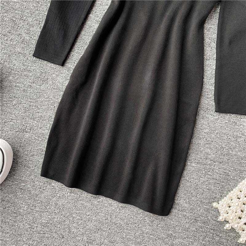 2019 nueva moda mujer ropa adulto Sexy perspectiva cuello redondo pulóver manga larga cadera inferior Vestido de punto