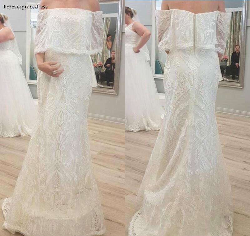 2019 Romantic Lace Arabic Dubai Wedding Dress Modest Unique Off Shoulders Garden Bridal Gown Custom Made Plus Size