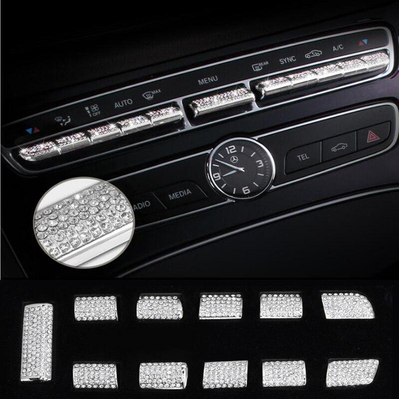 Central Control Button Cover Trim for Mercedes Benz GLC//C Class 2015-18 Aluminum