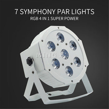 7*12w 25 angle lens Ultra Bright Slim Flat White Led Par Light 7x12W Smooth RGBW Color Mixing DMX 4/8 Channels Stage Wash freeshipping 2xlot white shell battery wireless 6 18w flat led par light rgbwa uv 6in1 color mixing dmx 6 10 channels remote