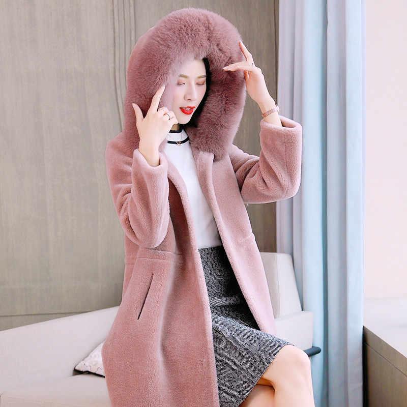 Hangat Wanita Nyata Musim Dingin Bulu Jaket Domba Bulu Domba Mantel Wol Mantel Abrigos Mujer Invierno 2020 9222-2 YY700