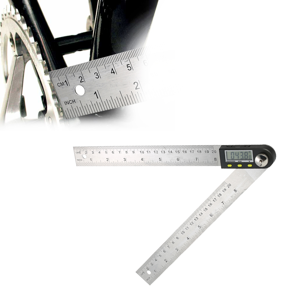 0-200mm/8 inches Stainless Steel Digital Protractor Angle Finder Ruler with Reversible Reading Hold