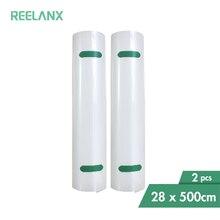 Reelanx sacos de vácuo 2 rolos 28*500cm para alimentos aferidor do vácuo máquina embalagem