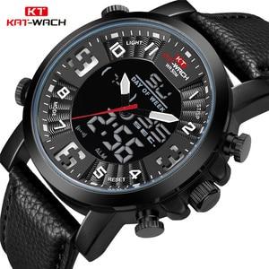 KT Top Brand Watches Men 2020 Leather Band Wristwatch Mens Luxury Brand Quartz Watch Clock Chronograph Waterproof Black KT1845(China)