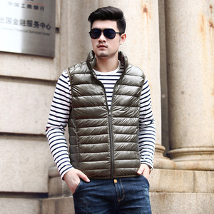 Image 4 - 2019 New Winter White Goose Down Vest For Men Autumn Warm Casual Sleeveless Jacket Male Light Black Stand Collar Coat Mens WFY09