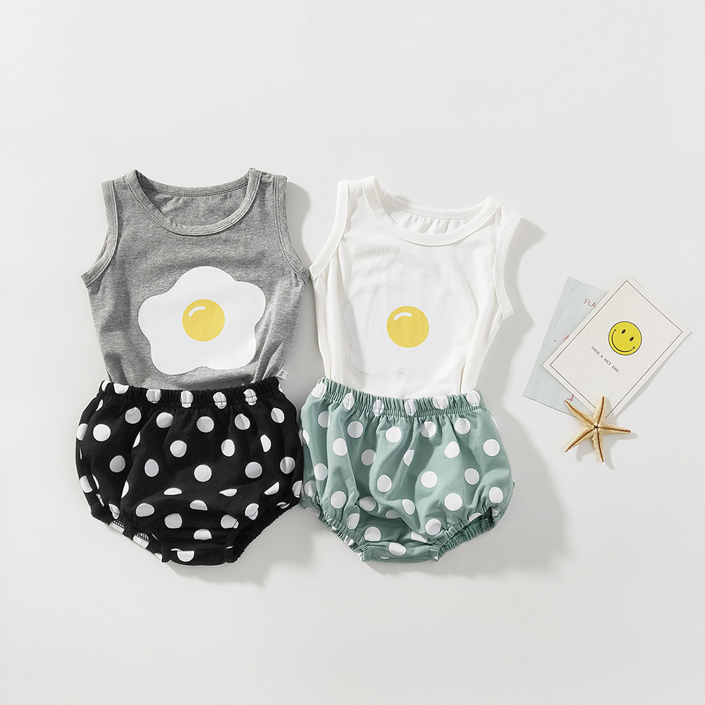 Baby Girls Clothes Summer Newborn Baby Clothing Set Polka Dot Infant Toddler Boys Clothes Cotton Baby Outfits T-shirt + Shorts