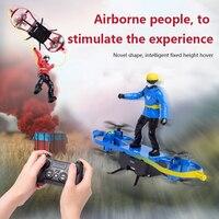 Dron cuadricóptero teledirigido F5, paracaidismo remoto de juguete, Avión de altura fija de cuatro ejes, Mini Dron de juguete con parapente para trucos