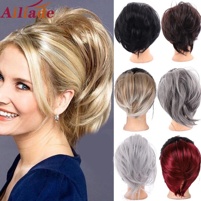 AILIADE Natural Hair Chignon Heat Resistant Synthetic Donut Straight Hair Bun Pad Popular High Side Bun Trendiest Updos For Hair