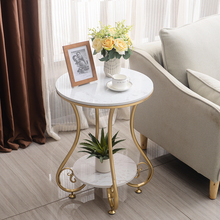Marble Sofa Side Table Corner Table Living Room Bedside Table Small Round Table European-style Small Coffee Tablemodern Morocco