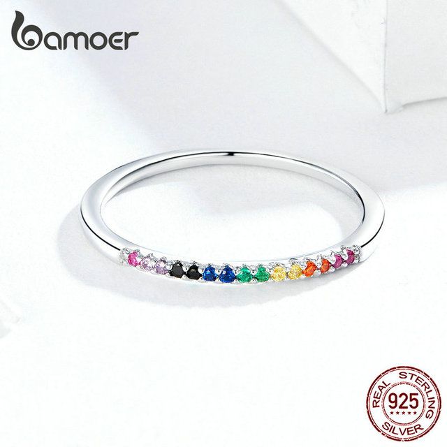 bamoer Rainbow Color CZ Finger Rings for Women Stackable Match Joker Wedding Statement Sterling Silver 925 Jewelry SCR583