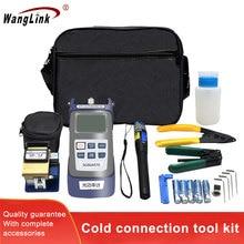 Wanglink fibra óptica kit de junção fria pacote de fibra óptica máquina fusão caixa de ferramentas medidor de energia óptica caneta luz vermelha corte knif