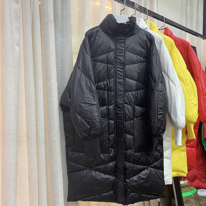 Белая утка 2019 Бесплатная доставка Новая мода осень зима пуховик женский воротник свободный пуховик женские длинные пальто для работы