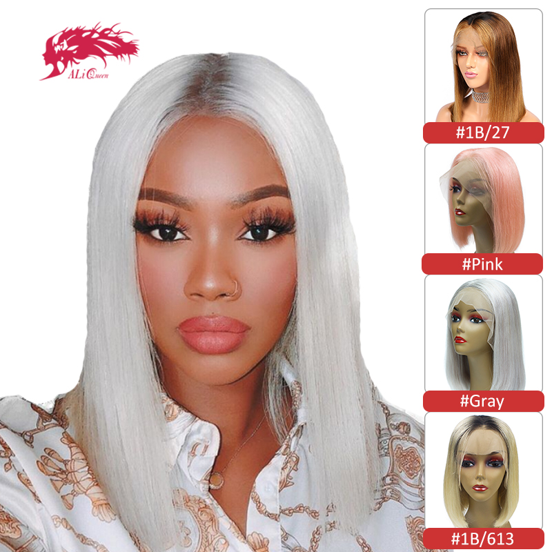 613 Lace Front Wig Brazilian Straight 13x4 / 13x6 Lace Front Human Hair Wig #Pink / #1B/613 / Gray / Ombre 1B/27 Color Bob Wigs
