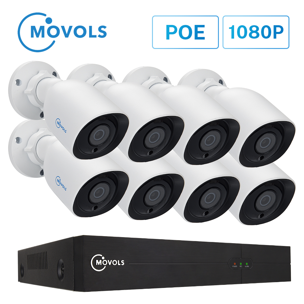 Movols 8CH 1080P POE NVR Kit H.265 Security Camera System 2.0MP IR Indoor Outdoor CCTV 8PCS POE IP Camera Video Surveillance Set image