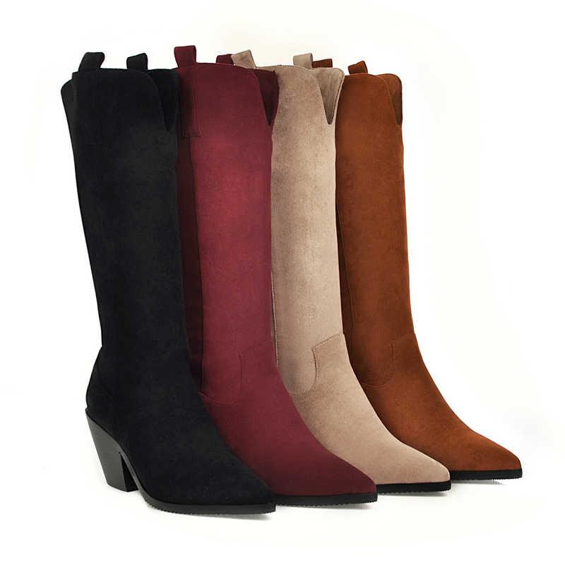 Wees Teen Over Mid-Kalf Laarzen Voor Vrouwen Dikke Hak Western Winter Cowgirls Laarzen Beige Zwart Rood Bruin laarzen