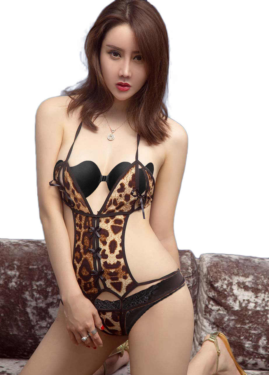 Seksi leopar teddies iç çamaşırı yular Babydoll Cut-Out vücut sıcak satış büyüleyici Crotchless tulumlar külot g-strings için kadın
