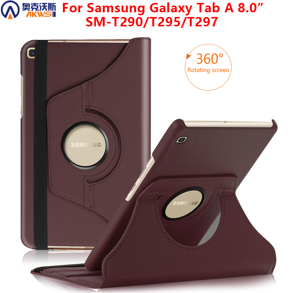 Walkers 360 Rotating Case For Samsung Galaxy Tab A 8.0 SM-T290 Tablet 2019 Slim PU Cover For T295 T297 + Gift