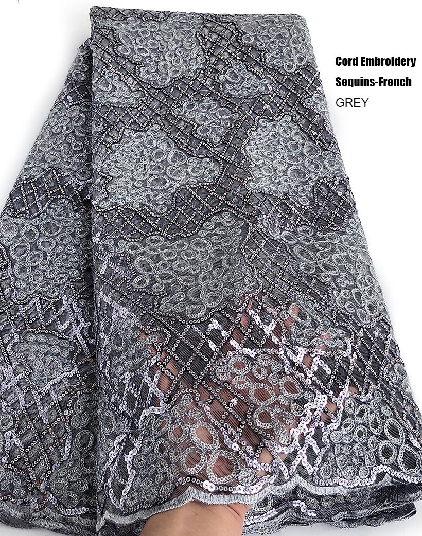 Unique Grey Cord Embroidered French Lace Shiny African Tulle Fabric Rocking Nigerian Celebration Wear 5 yards