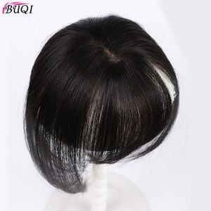 Image 4 - BUQI короткие человеческие волосы, настоящие человеческие волосы, 3D челка на клипсе, 100% натуральный цвет, человеческие волосы для женщин, прямые черные волосы