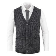 Осень Зима ребристый вязаный Повседневный приталенный свитер жилет мужской вязаный с v-образным вырезом кабель Aran жилет 204