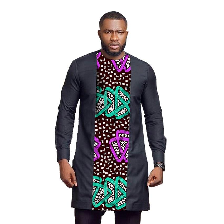 African print long shirts men's Ankara outfit fashion patchwork dashiki  groom tops custom made Africa clothing T-Shirts  - AliExpress