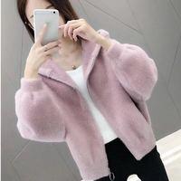 Women Short Solid Faux Mink Fur Coat Hooded Fluffy Jacket