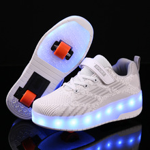 Roller-Shoes Wheels Luminous-Sneakers Kids Girls LED with for Boy Light-Up Usb-Charging