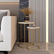 Мраморный Топ, диван, боковой столик, угловой столик, Круглый Маленький журнальный столик, золотистый, черный, с дужками, дополнительно 2 ком...