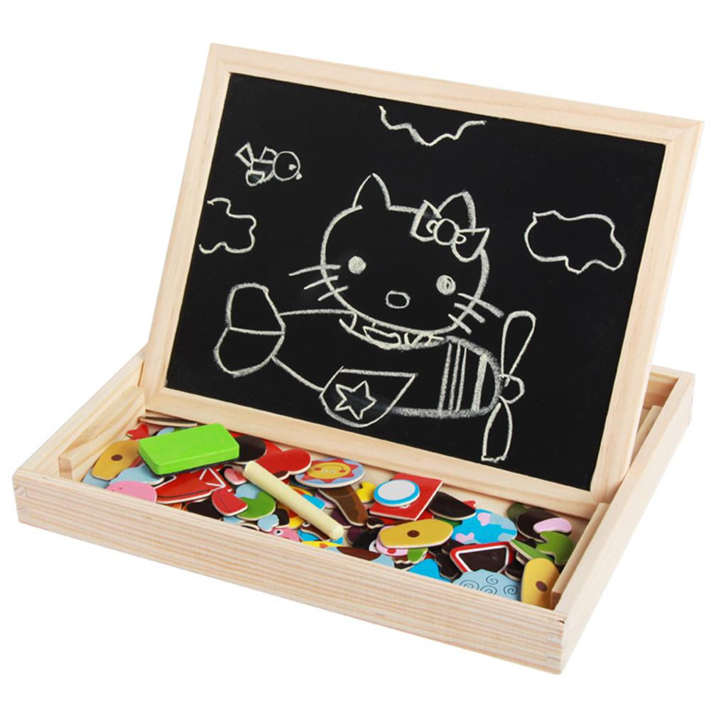 Bright Colorful Engaging Wooden Animal Insect Drawing Chalkboard Magnetic Puzzle Game Kid Educational Toy Birthday Gifts
