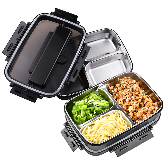 المحمولة 304 الفولاذ المقاوم للصدأ بينتو صندوق مع 3 مقصورات علب الاغذية مانعة للتسرب الميكروويف التدفئة الغذاء الحاويات أدوات المائدة الكبار