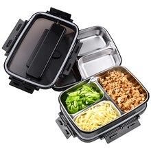 Portátil 304 caixa de aço inoxidável bento com 3 compartimentos lancheira leakproof microondas aquecimento recipiente alimentos utensílios de mesa adultos
