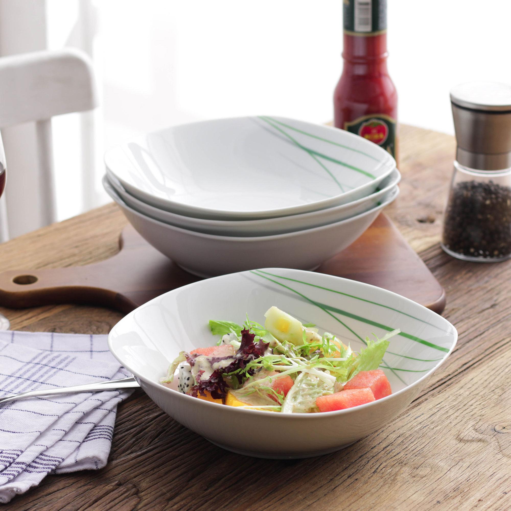 VEWEET AVIVA ensemble rond de bols à fruits et à salade | En porcelaine blanche de 9 pouces 1050ML, assiette à soupe profonde pour la salade/plats latéraux, soupe/Dessert, 4 pièces