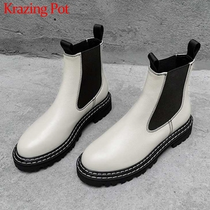 Image 1 - Krazing Pot Chelsea boots British school genuine leather round toe med heels winter women leisure mixed colors ankle boots L17