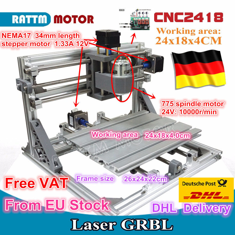 CNC 2418 GRBL control Diy CNC máquina área de trabajo 24x18x4,0 cm, 3 ejes Pcb Pvc fresadora de madera, grabador de talla, v2.5
