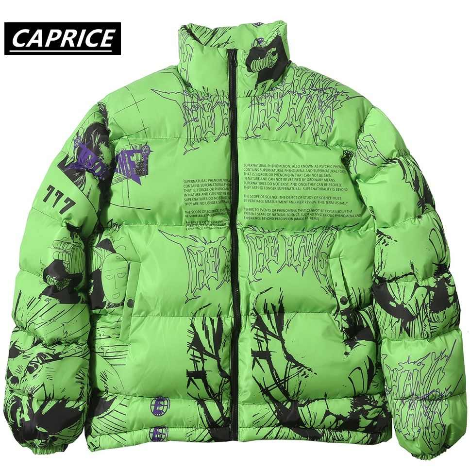 Hip Hop Comic print Jacket 2019 Mannen/Vrouwen Harajuku Winter Dikke Parka Streetwear Warme Jassen Japanse Cartoon Graffiti green