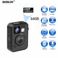 BOBLOV Wifi Police Camera 64GB F1 Body Kamera 1440P Worn Cameras For Law Enforcement 10H Recording GPS Night Vision DVR Recorder