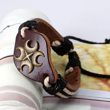 Creative vintage woven bracelet Retractable men's leather wristband leather bracelet for women punk creative birthday present vintage leaf woven bracelet for men