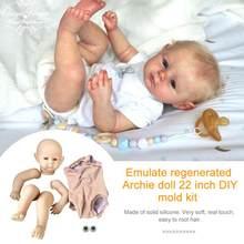55 cm/22 pulgadas Archie cuerpo de tela bricolaje Kit de muñeco realista de silicona suave para los principiantes juguete del bebé sin pintar DIY inacabado en blanco